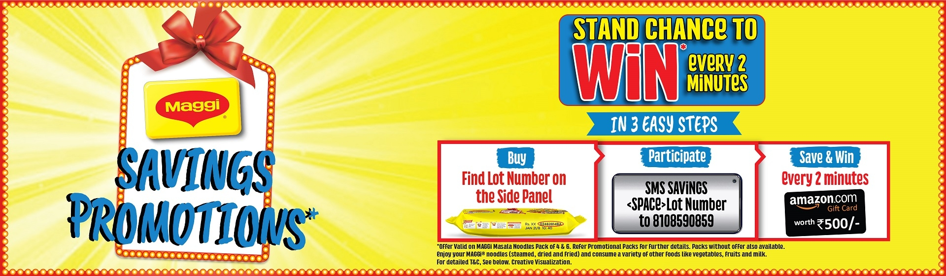 Maggi Woohoo Offer ; Win Rs. 500 Amazon Gift Voucher in Every 2 Minutes