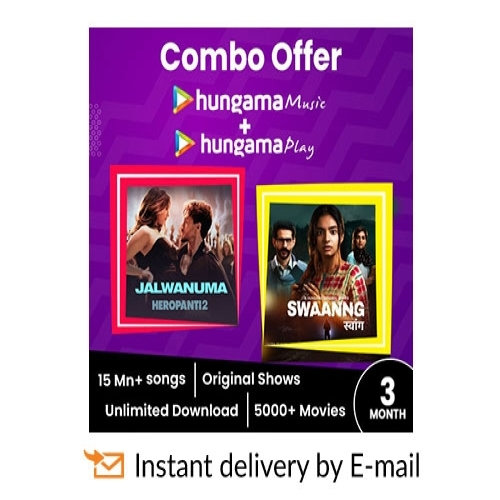 Hungama Combo E-Gift Card - 3 Months Subscription - Rs 499